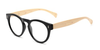 Angle of The Timber in Matte Black/Wood, Women's and Men's Round Reading Glasses