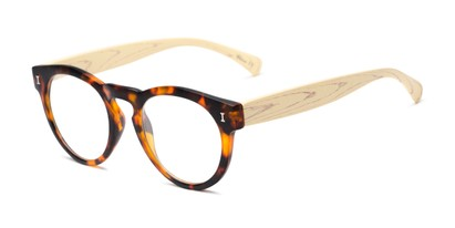 Angle of The Timber in Matte Tortoise/Wood, Women's and Men's Round Reading Glasses