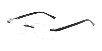 Angle of The Tipton in Black, Women's and Men's Rectangle Reading Glasses