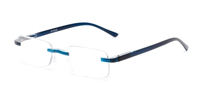 Angle of The Tipton in Blue, Women's and Men's Rectangle Reading Glasses