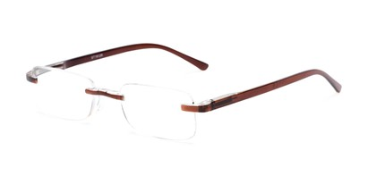 Angle of The Tipton in Brown, Women's and Men's Rectangle Reading Glasses