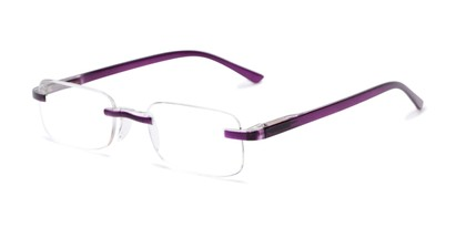 Angle of The Tipton in Purple, Women's and Men's Rectangle Reading Glasses
