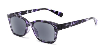 Angle of The Topaz Reading Sunglasses in Purple/Black with Smoke, Women's and Men's Retro Square Reading Sunglasses