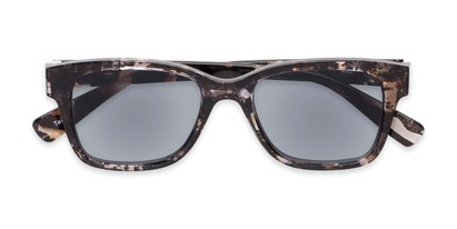 Folded of The Topaz Reading Sunglasses in Blue/Brown with Smoke