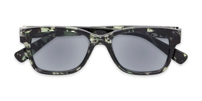 Folded of The Topaz Reading Sunglasses in Green/Black with Smoke