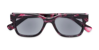 Folded of The Topaz Reading Sunglasses in Pink/Black with Smoke