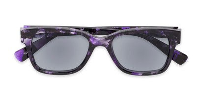 Folded of The Topaz Reading Sunglasses in Purple/Black with Smoke