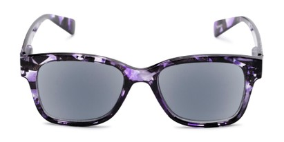 Front of The Topaz Reading Sunglasses in Purple/Black with Smoke