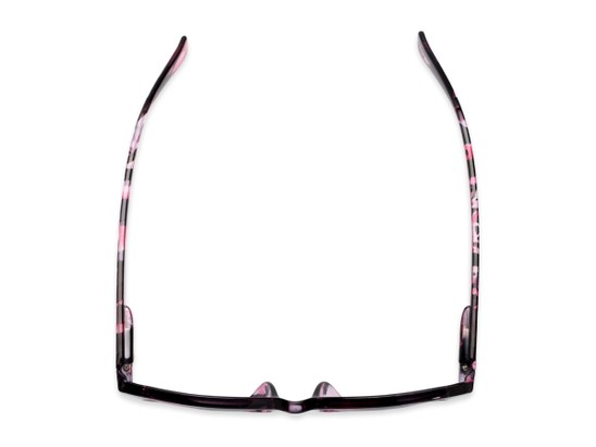 Overhead of The Topaz Reading Sunglasses in Pink/Black with Smoke