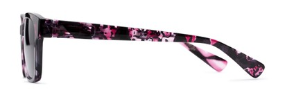 Side of The Topaz Reading Sunglasses in Pink/Black with Smoke