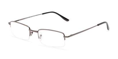 Angle of The Topeka in Grey, Women's and Men's Rectangle Reading Glasses