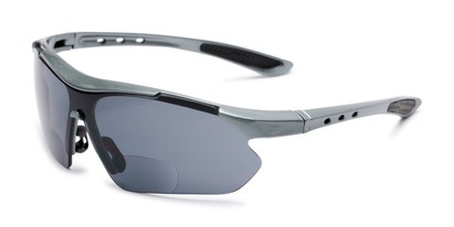Angle of The Topsail Bifocal Reading Sunglasses in Grey/Black with Smoke, Women's and Men's Sport & Wrap-Around Reading Sunglasses