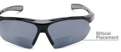 Detail of The Topsail Bifocal Reading Sunglasses in Black/Grey with Smoke
