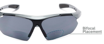 Detail of The Topsail Bifocal Reading Sunglasses in Grey/Black with Smoke