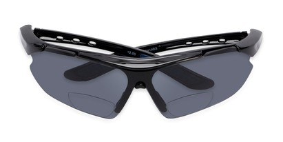 Folded of The Topsail Bifocal Reading Sunglasses in Black/Blue with Smoke