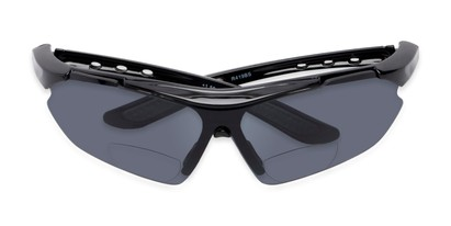 Folded of The Topsail Bifocal Reading Sunglasses in Black/Grey with Smoke