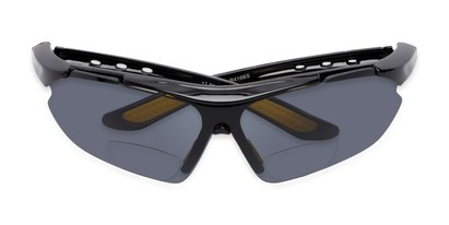 Folded of The Topsail Bifocal Reading Sunglasses in Black/Yellow with Smoke