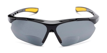 Front of The Topsail Bifocal Reading Sunglasses in Black/Yellow with Smoke