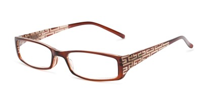 Angle of The Trisha in Brown, Women's Rectangle Reading Glasses