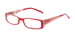 Angle of The Trisha in Dark Red, Women's Rectangle Reading Glasses