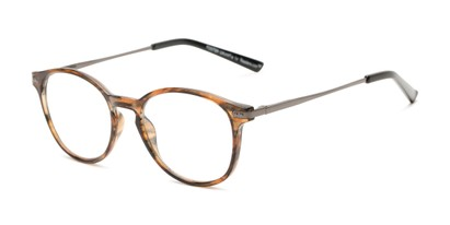 Angle of The Tristan - Foster Grant for Readers.com in Brown Stripe/Grey, Women's and Men's Round Reading Glasses