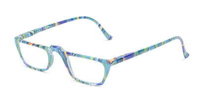 Angle of The Tropical in Blue Multi with Dolphins, Women's Rectangle Reading Glasses