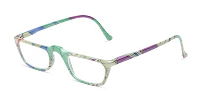 Angle of The Tropical in Blue/Green Multi with Leaves, Women's Rectangle Reading Glasses