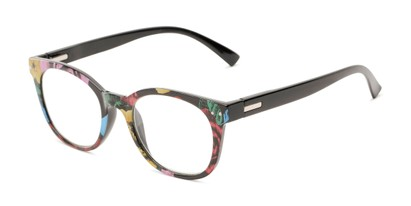 Angle of The True in Black/Multi Floral, Women's Retro Square Reading Glasses