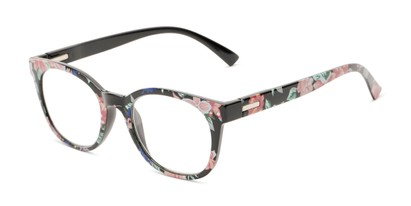 Angle of The True in Black/Pink Floral, Women's Retro Square Reading Glasses