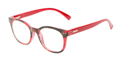 Angle of The True in Red Floral, Women's Retro Square Reading Glasses