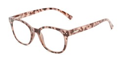 Angle of The True in Pink Tortoise, Women's Retro Square Reading Glasses