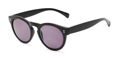 Angle of The Tupelo Reading Sunglasses in Matte Black with Smoke, Women's Round Reading Sunglasses