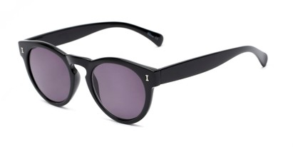 Angle of The Tupelo Reading Sunglasses in Glossy Black with Smoke, Women's Round Reading Sunglasses