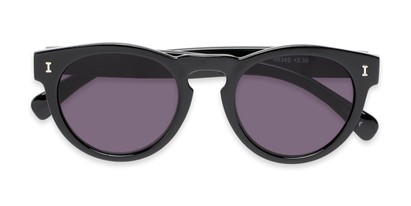 Folded of The Tupelo Reading Sunglasses in Glossy Black with Smoke