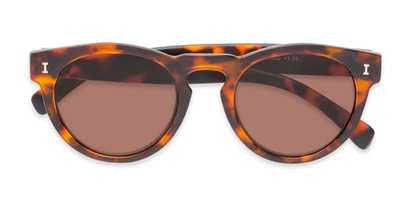 Folded of The Tupelo Reading Sunglasses in Matte Tortoise with Amber