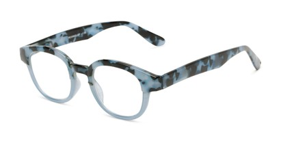 Angle of The Tweed in Blue Tortoise Fade, Women's and Men's Round Reading Glasses
