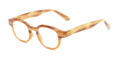Angle of The Tweed in Orange Horn Fade, Women's and Men's Round Reading Glasses