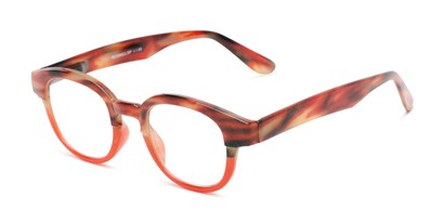 Angle of The Tweed in Red Horn Fade, Women's and Men's Round Reading Glasses