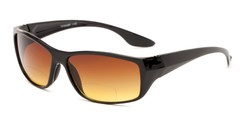 Angle of The Utah Driving Bifocal Reading Sunglasses in Black with Amber, Women's and Men's Square Reading Sunglasses