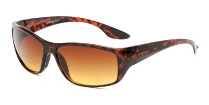 Angle of The Utah Driving Bifocal Reading Sunglasses in Tortoise with Amber, Women's and Men's Square Reading Sunglasses