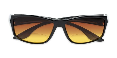 Folded of The Utah Driving Bifocal Reading Sunglasses in Black with Amber