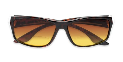 Folded of The Utah Driving Bifocal Reading Sunglasses in Tortoise with Amber
