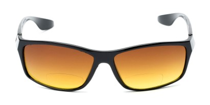 Front of The Utah Driving Bifocal Reading Sunglasses in Black with Amber