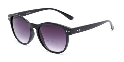 Angle of The Vale Bifocal Reading Sunglasses in Matte Black with Smoke, Women's and Men's Round Reading Glasses
