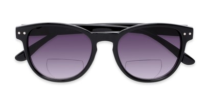 Folded of The Vale Bifocal Reading Sunglasses in Glossy Black with Smoke