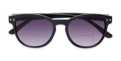 Folded of The Vale Bifocal Reading Sunglasses in Matte Black with Smoke