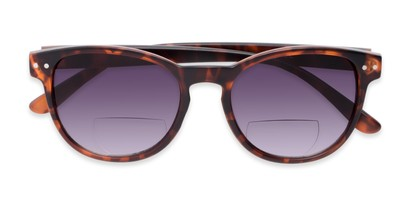 Folded of The Vale Bifocal Reading Sunglasses in Matte Tortoise with Smoke