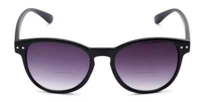 Front of The Vale Bifocal Reading Sunglasses in Glossy Black with Smoke