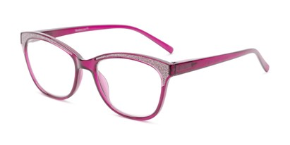 Angle of The Valerie in Magenta Pink, Women's Cat Eye Reading Glasses