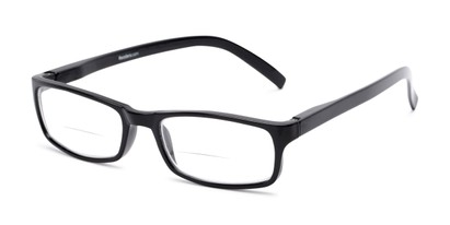 Angle of The Vancouver Bifocal in Black, Women's and Men's Rectangle Reading Glasses